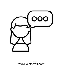 avatar woman with speech bubble icon, line style