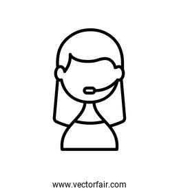 support service concept, Icon of woman wearing headset for call center, line style