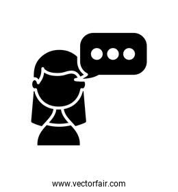 avatar woman with speech bubble icon, silhouette style