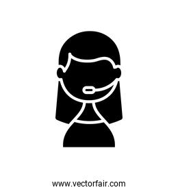 support service concept, Icon of woman wearing headset for call center, silhouette style