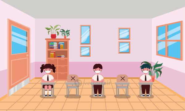 Kids with masks in classroom vector design