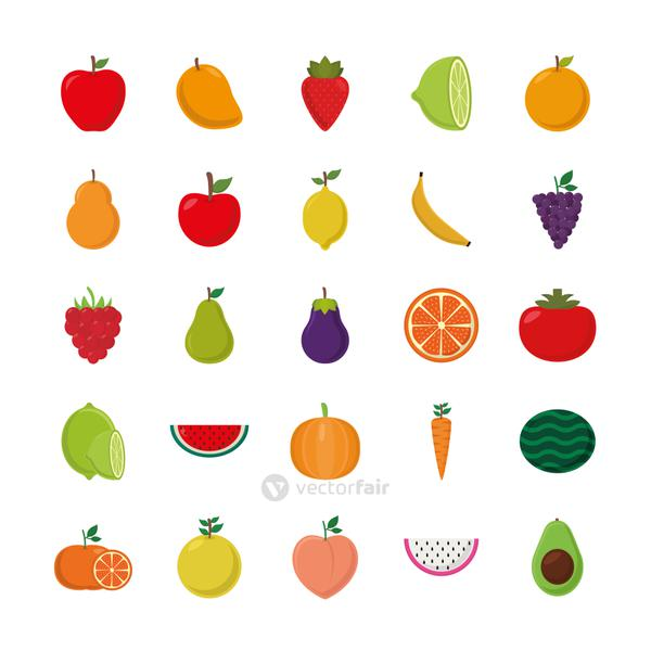fruits flat style icon set vector design