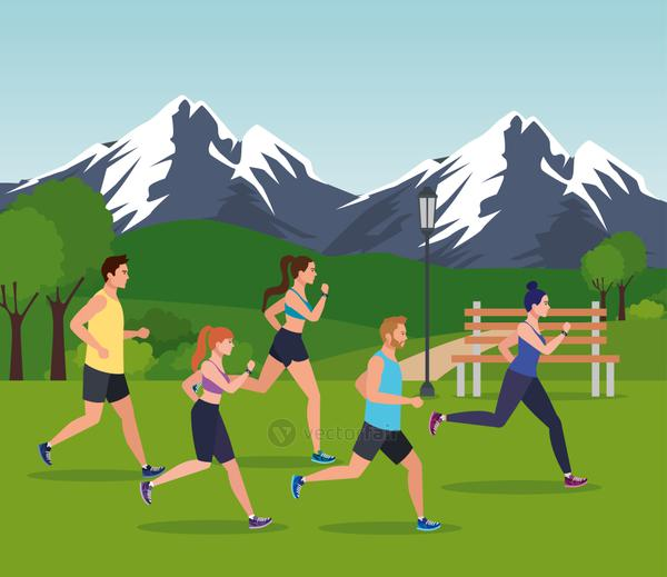 people jogging mountainous landscape, people running outdoor avatar characters