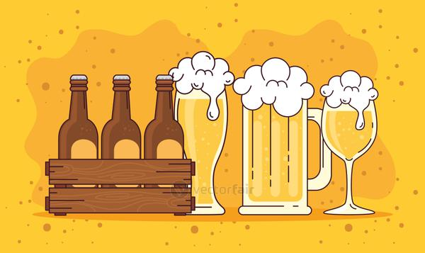 beers set in the wooden box, mug and cup of beer on yellow background