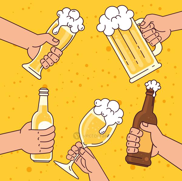 hands holding beers, on yellow background
