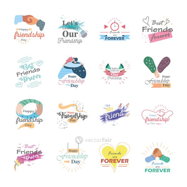 Happy friendship day detailed style icon set vector design