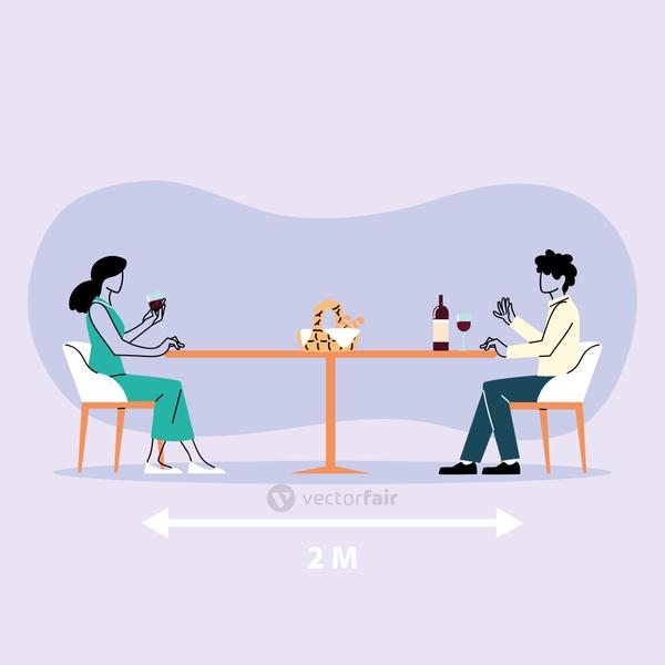 social distancing in restaurant, a man and a woman sitting eating, protection and prevention of coronavirus or covid-19