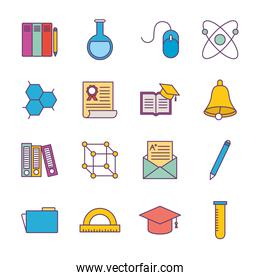 School line and fill style icon set vector design