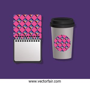 Geometric cover notebook and coffee mug vector design