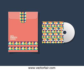 Geometric cover file and cd vector design