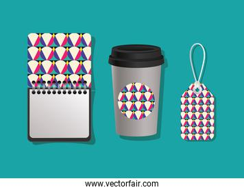 Geometric cover notebook coffee mug and label vector design