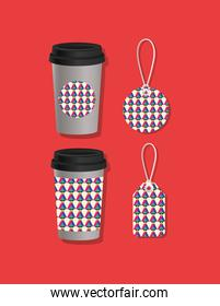 Geometric cover coffee mugs and labels vector design
