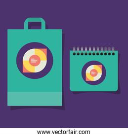 Geometric cover bag and notebook vector design