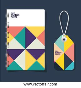 Geometric cover notebook and label vector design