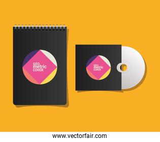 Geometric cover notebook and cd vector illustration