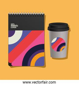 Geometric cover notebook and coffee mug vector illustration