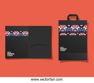 Geometric cover file and bag vector design