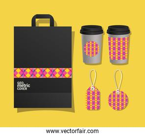 geometric cover bag coffee mugs and labels vector design