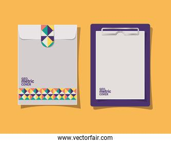 geometric cover clipboard and envelope vector design