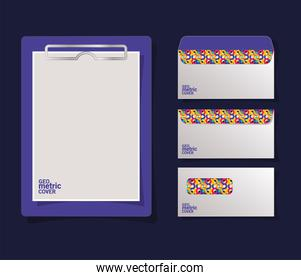 Geometric cover clipboard and envelopes vector design