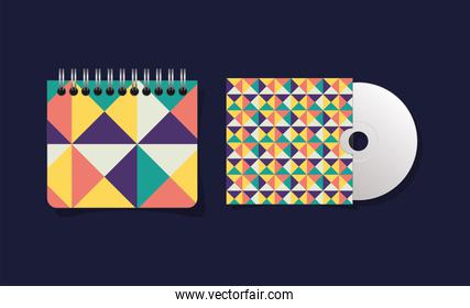 Geometric cover notebook and cd vector design