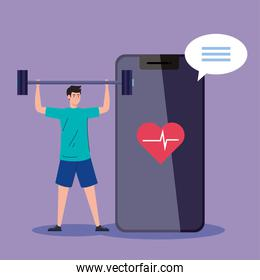 fitness, training and workout app, man practicing sport in smartphone, sport online