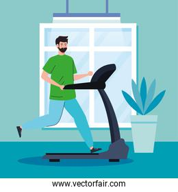 exercise at home, man running on treadmill, using the house as a gym