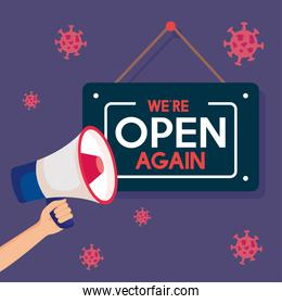 open again after quarantine,reopening of shop,we are open again lettering with megaphone