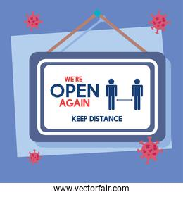 open again after quarantine, reopening of shop, service, we are open again, keep distance