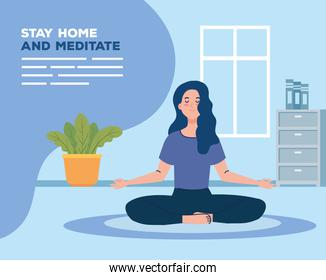 banner of stay home, be safe, woman meditating, during coronavirus covid 19, stay at home quarantine, be careful