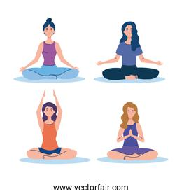 women group meditating, concept for yoga, meditation, relax, healthy lifestyle