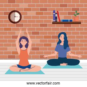 stay home, be safe, women meditating, yoga relax, during coronavirus covid 19, stay at home quarantine, be careful