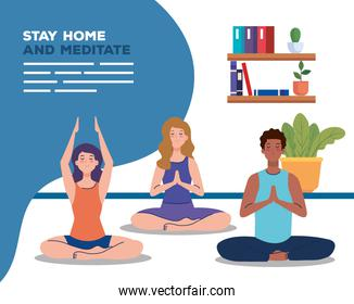 banner of stay home, be safe, people meditating, during coronavirus covid 19, stay at home quarantine, be careful