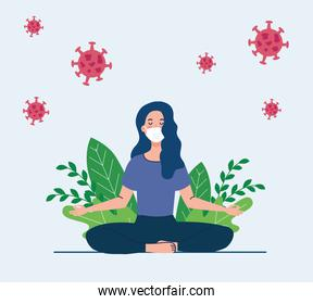 woman meditating wearing medical mask, concept for yoga, meditation, relax, healthy lifestyle in landscape, with cells covid 19 in the environment
