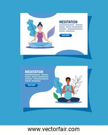 set banner of people meditating, concept for yoga, meditation, relax, healthy lifestyle in landscape