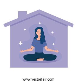stay home, be safe, woman meditating and facade house, during coronavirus covid 19, stay at home quarantine, be careful