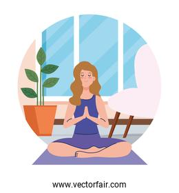 stay home, be safe, woman meditating, during coronavirus covid 19, stay at home quarantine, be careful