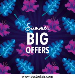 summer big offers, banner with tropical leaves background, exotic floral banner