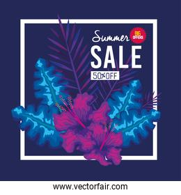 summer sale fifty percent off, banner with flowers and tropical leaves, exotic floral banner