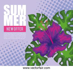 summer new offer, banner with flower and tropical leaves, exotic floral banner