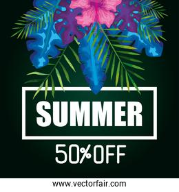 summer fifty percent off, banner with flowers and tropical leaves, exotic floral banner