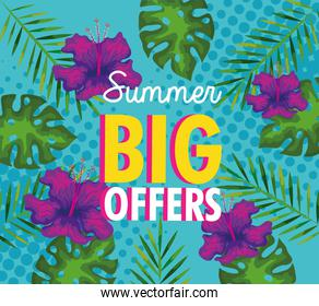 summer big offers, banner with flowers and tropical leaves, exotic floral banner