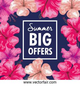 summer big offers, banner with frame of flowers tropical, exotic floral banner