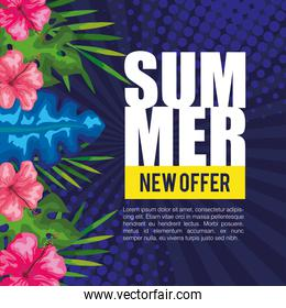 summer new offer, banner with flowers and tropical leaves, exotic floral banner