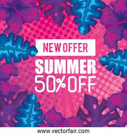 new offer summer fifty percent off, banner with branches and tropical leaves, exotic floral banner