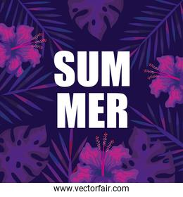 summer banner with branches and tropical leaves, exotic floral banner