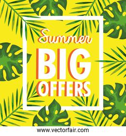 summer big offers, banner with branches and tropical leaves, exotic floral banner