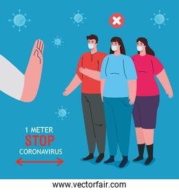 social distancing, stop coronavirus one meter distance, keep distance in public society to people protect from covid 19, people wearing medical mask against coronavirus