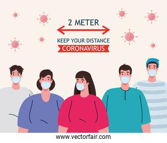 social distancing, stop coronavirus two meter distance, keep distance in public society to people protect from covid 19, people wearing medical mask against coronavirus