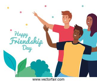 happy friendship day, young men with woman , friendship excitement, cheerful laughing from happiness